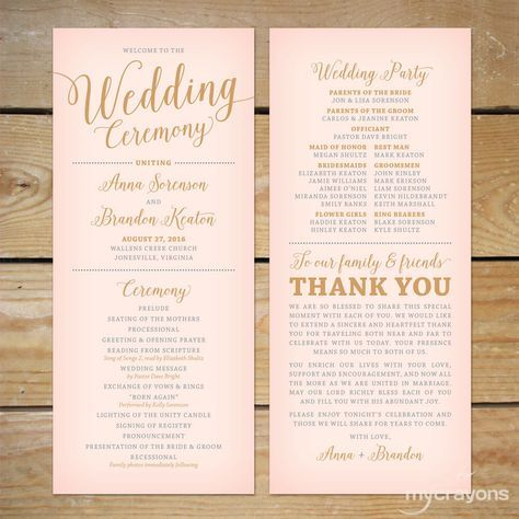 Blush Pink and Gold Wedding Program Printable // Printable Wedding Program, Modern Calligraphy Wedding Programs by MyCrayonsPapeterie on Etsy https://www.etsy.com/listing/264021808/blush-pink-and-gold-wedding-program