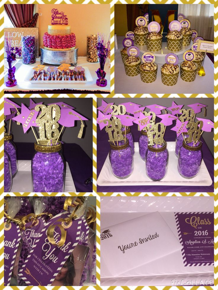 Purple And Gold Theme Graduation Party For Invitation Thank You Tags Centerpieces Cupcake Toppers Check Out