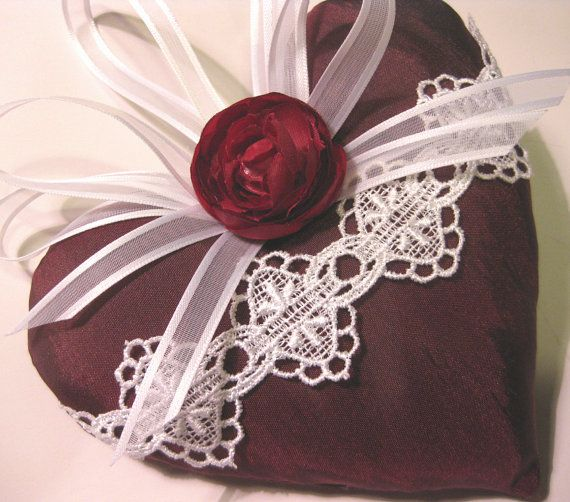 Lavender Sachet Heart in Burgundy Taffeta by RebeccasHearts, $13.50