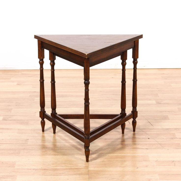 2 Teak Wood Triangular Nesting Tables -  Loveseat is the best way to buy vintage home furniture in San Diego & Los Angeles.  Shabby Chic, Vintage, Mid Century Modern and much more.