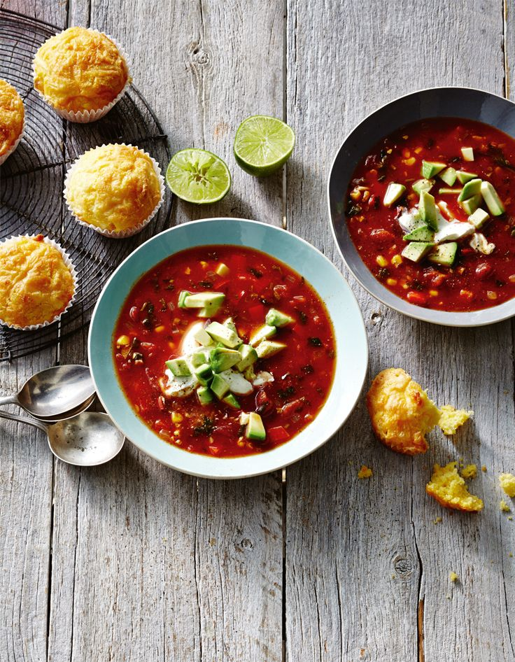 Warm up with our Mexican spicy tomato & Corn soup. http://www.woolworths.com.au/wps/wcm/connect/Website/Woolworths/FreshFoodIdeas/Recipes/Recipes-Content/mexicanspicytomatoandcornsoup #Woolworths #Recipes #Indian #Spicy #Tomato #Corn #Soup #Warm #Delicious #Winter