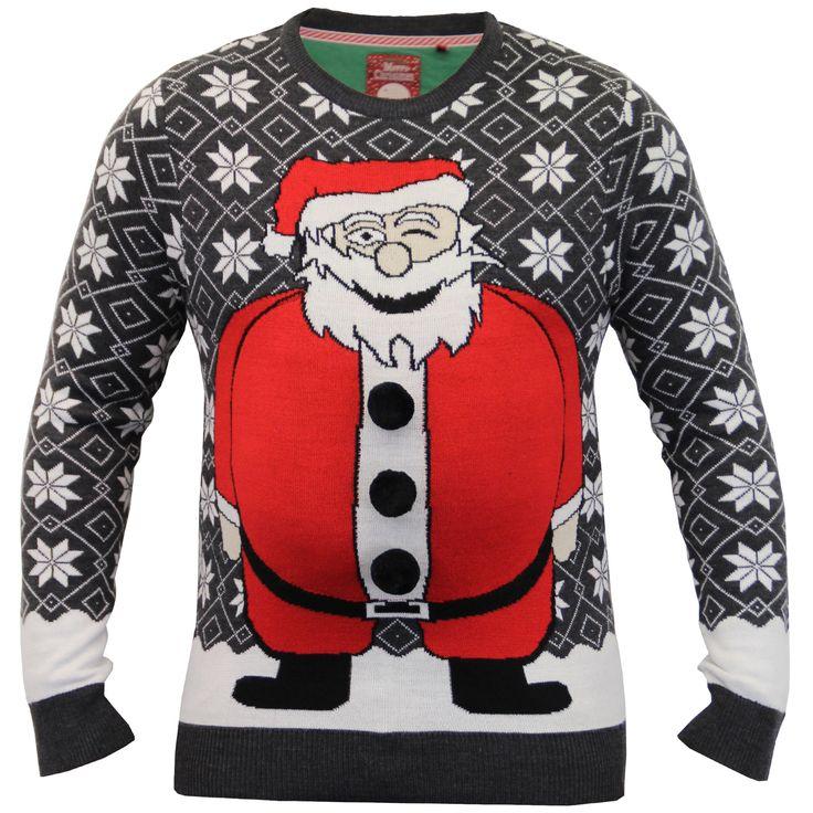 Mens Christmas Jumper Brave Soul Knitted Xmas Sweater Santa Snowman 3D Pom New