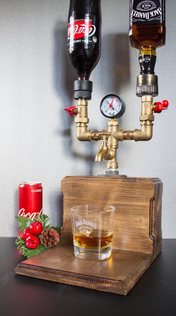 Doppel-Alkohol-Alkohol-Whiskey-Holz-Spender, Geschenk für ihn, Jack Daniels, 21. 30. 40. 50. Geburtstagsgeschenke, Geschenk für Papa