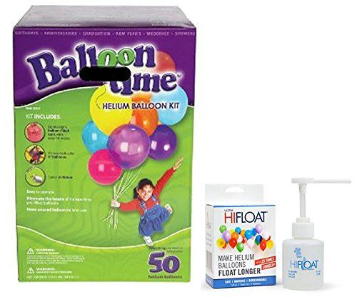 Balloon Time Disposable Helium Kit ,Tank 14.9 cu.ft - Plus an Ultra Hi-Float - Party Balloons will Float for Several Days - 50 Balloons and Ribbon Included
