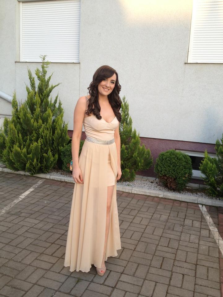 Denisa - nude short-long evening dress