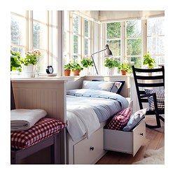 BRIMNES Bed frame with storage & headboard, white, Luröy - Queen - Luröy - IKEA