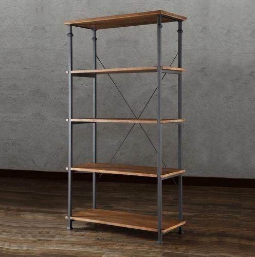 Solid-Wood-Bookshelf-Reclaimed-Look-Wood-Wrought-Iron-Rustic-Large-Big-Bookcase