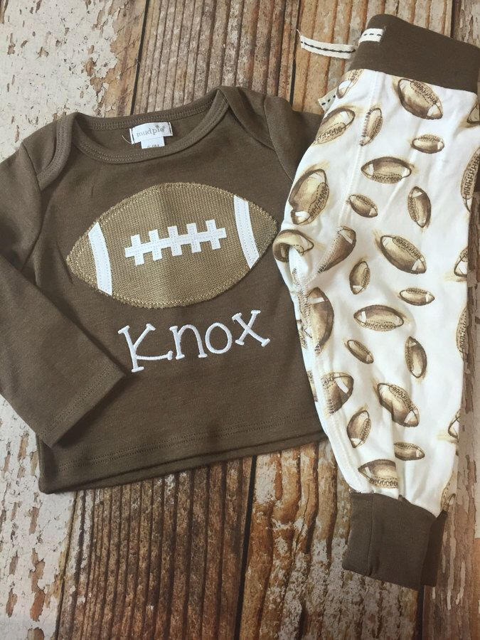 Etsy Monogrammed Football baby outfit, pajamas, Football baby clothes, boy, sleepwear, infant, toddler, #affiliate