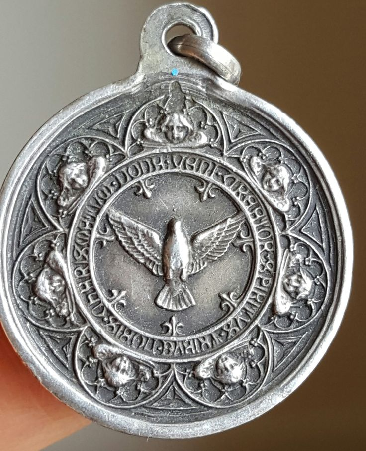 Vintage French Silver Holy Spirit Dove Medal Blessed Mother Mary Blessed Virgin Mary Art Nouveau Catholic Jewelry Religious Hallmarked by PinyolBoiVintage on Etsy