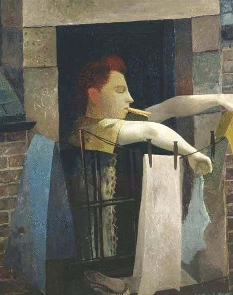 Robert Henderson Blyth - The Artist's Wife Hanging out the Laundry, 1947