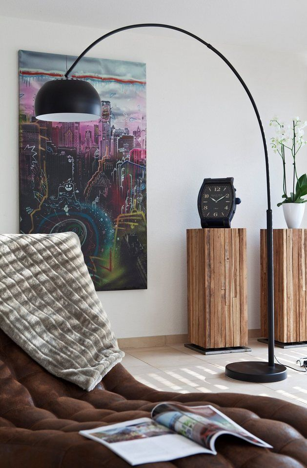 SalesFever Bogenlampe schwarz lackiert mit Dimmer »Big Deal