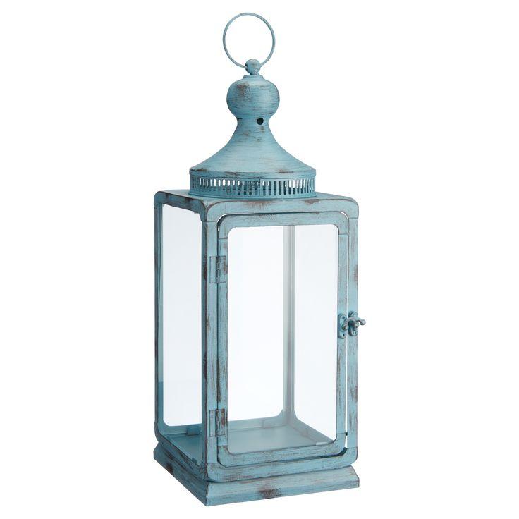 Sfeervolle lantaarn. Kleur: blauw. 37 cm hoog. Verkrijgbaar in diverse kleuren. #tuin #tuinverlichting #LenteKwantum #lantaarn