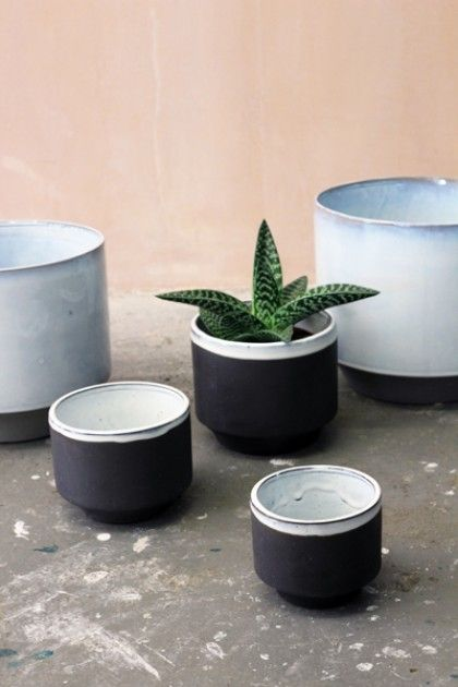 Set of 3 Small Peace Planters - Black