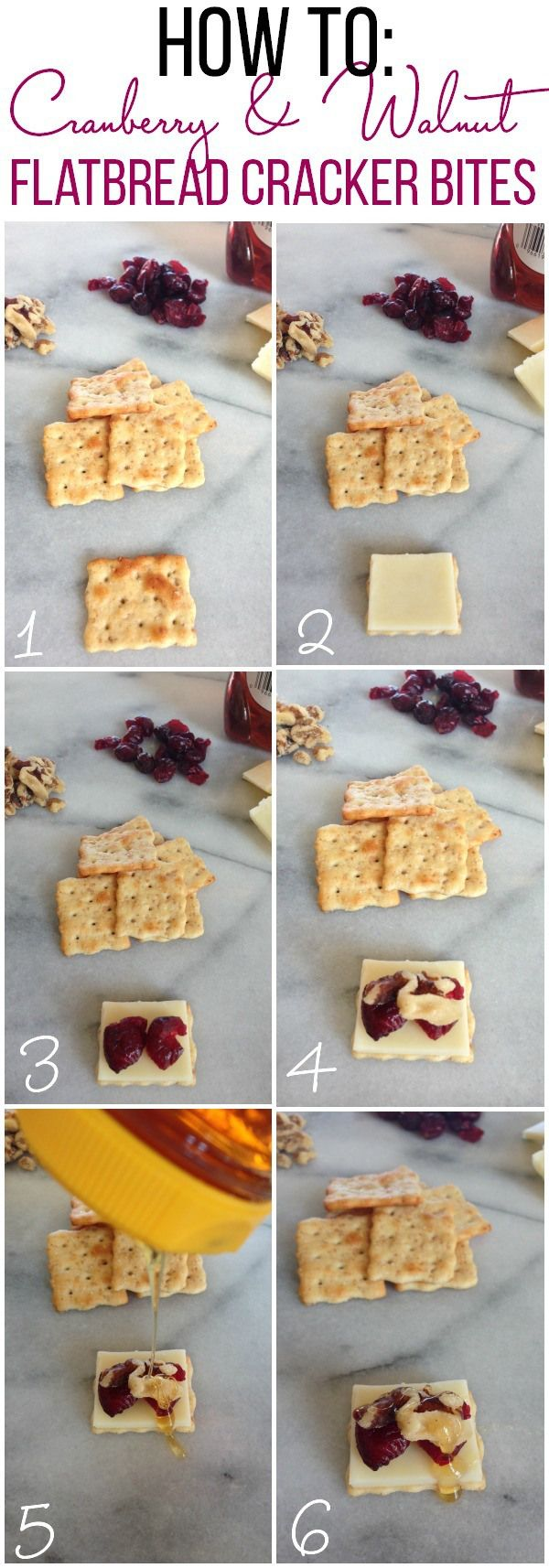 Easy Appetizers For Entertaining: Cranberry and Walnut Flatbread Cracker Bites with Honey drizzle in six easy steps. Recipe via @foodfolksandfun. Ways To Wow AD