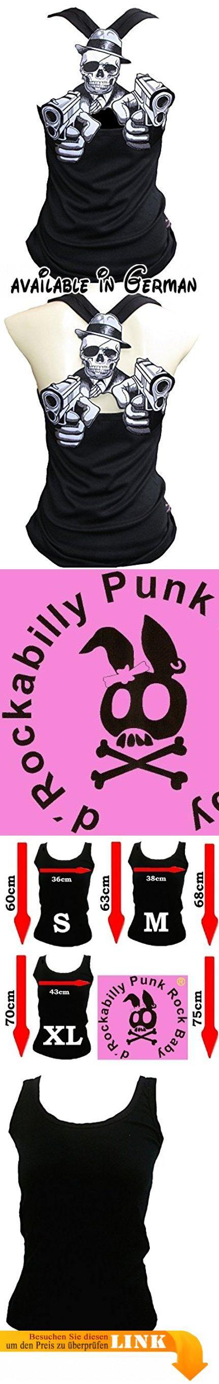 Rockabilly Punk Rock Baby Damen Schwarz Tank Top Shirt Crime Gun Skull XXL. Hochwertiges Special Edition Tank Top. Stretch Baumwolle High Quality. 100% Baumwolle - Patch Applikation 100% Polyester. eXtrem Seltenes Desinger Teil. Patch Applikation kann hinten - und vorne Korsett look mit BH - getragen werden. #Apparel #SHIRT