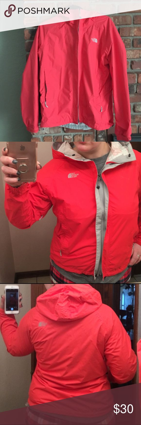 North Face rain jacket Packable lightweight rain coat. Great rain protection when worn alone or over another layer. In good shape, minus a small stain on the collar. The size has worn off the tag, but I am pretty sure it is an XL. Bright red color The North Face Jackets & Coats