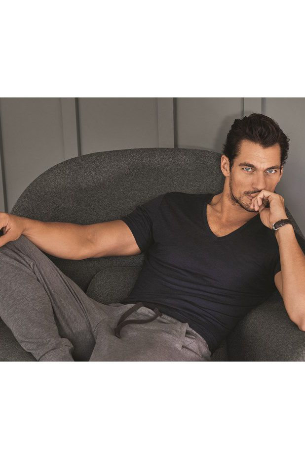 Make sure your man looks as good as David Gandy when he goes to bed in these grey pyjama bottoms & navy top.