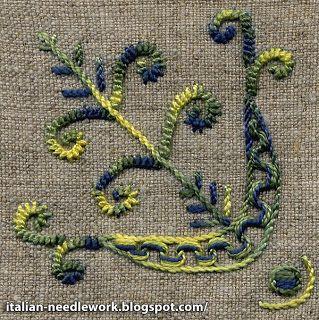 En dit is een voorbeeld van modern en gekleurd borduurwerk uit Umbrie, Italian-needlework.blogspot