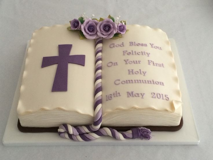 Holy communion open book/ bible cake lilac and Ivory