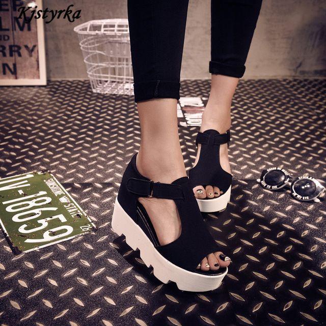 Nueva marca Kjstyrka 2017 verano t-strap Fashion Zapatos de Las Mujeres de LA PU de Cuero de Gladiador Sandalias de Plataforma de Las Mujeres Zapatos de Las Cuñas