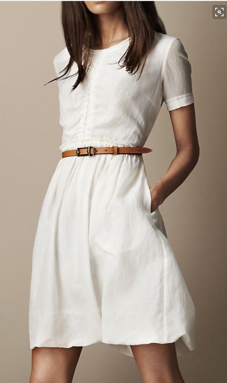 White gathered waist dress, Burberry style. Leather belt. Stitch fix 2016 Summer