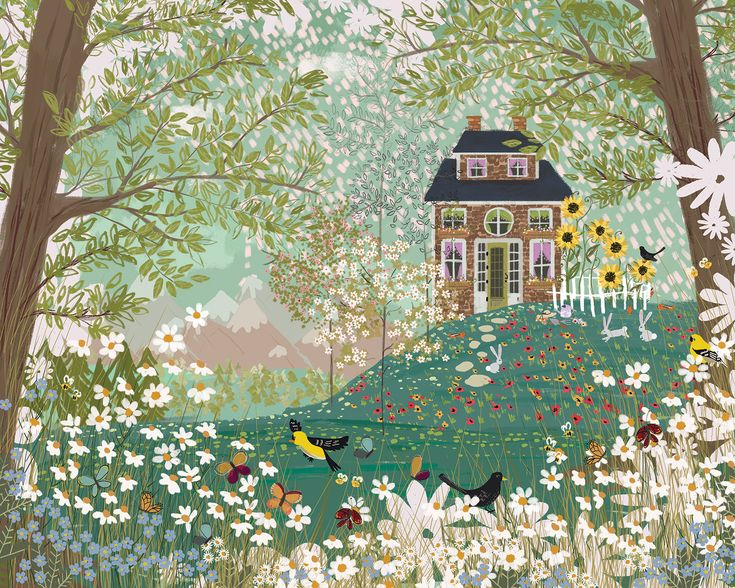 Garden Dream folk art fairytale illustration by Joy Laforme