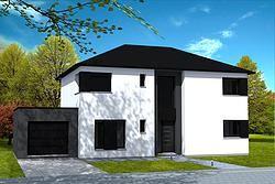 Maison cubique maison moderne cubique avec toiture 4 pans en enduit 2 tons blanc et gris - Maison crepi blanc et gris ...