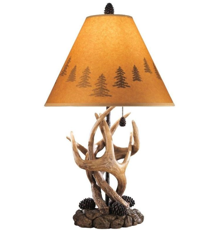 Orange Silhouette Shade Rustic Table Lamps Set Of Two Stylish Home Decor #lamp