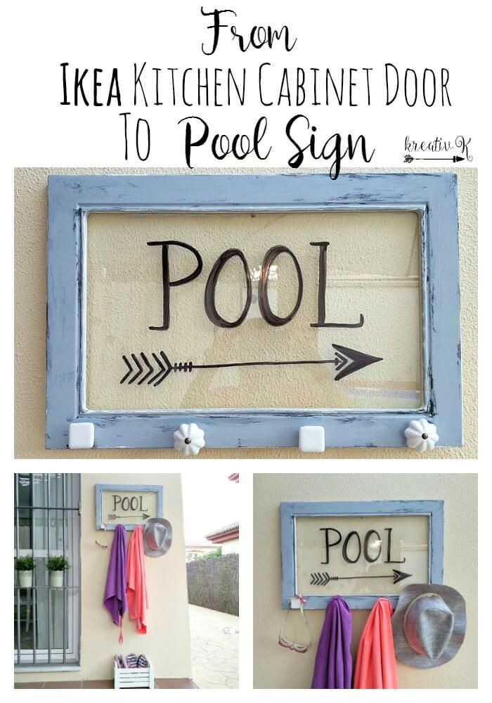 How to turn an Ikea kitchen cabinet glass door into a pool sign kreativk.net... (I think an old frame would work, too)