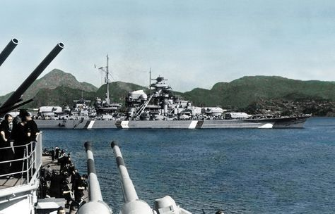 Original color photo of battleship Bismarck in Grimstad Fjord Norway, seen from heavy cruiser Prinz Eugen. (Rare Color Picture)