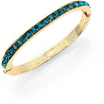 Kenneth Jay Lane Square-Cut Hinged Bangle Bracelet/Green on shopstyle.com