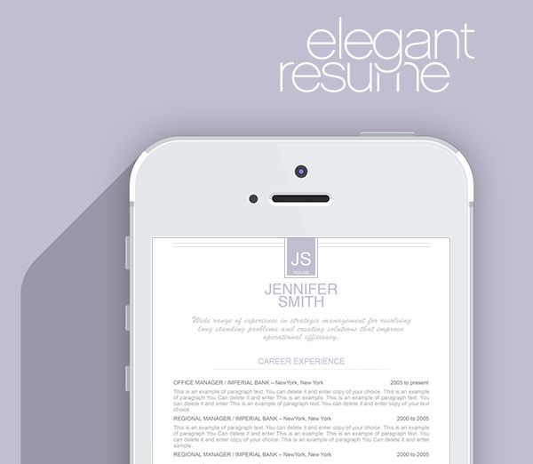 20 best Elegant Resume Templates images on Pinterest Resume - resume templates ms word