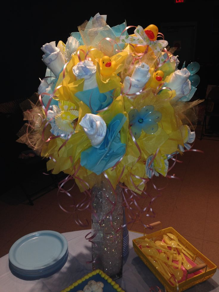 Gorgeous 3 39 hand made diaper bouquet for cake table for Pink diaper bouquet