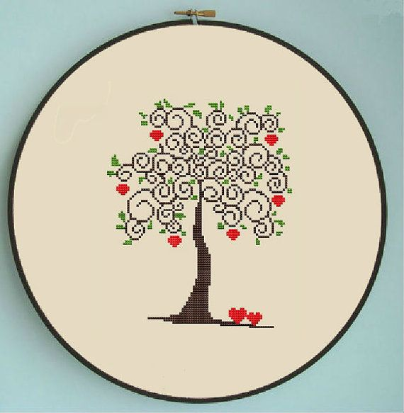 For Beth! :)    Counted cross stitch pattern, Instant Download, Free shipping, Cross-Stitch PDF, Love tree, Apple tree, Valentine's Day