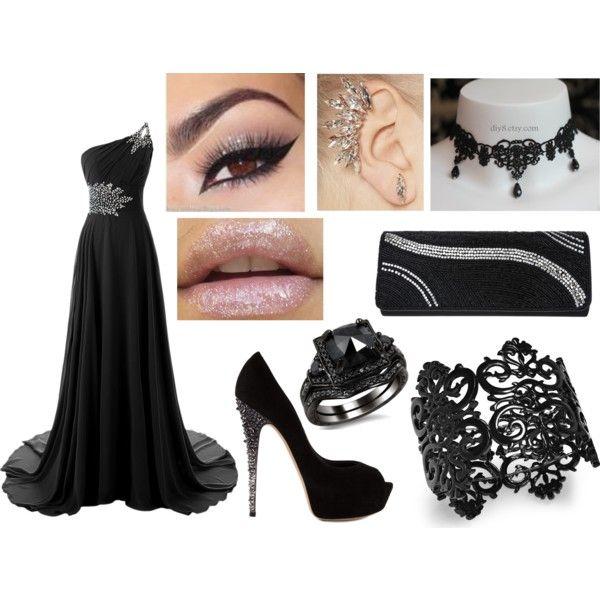 elegant night by elecktra94 on Polyvore featuring moda, Casadei, Nina, Bar III and black