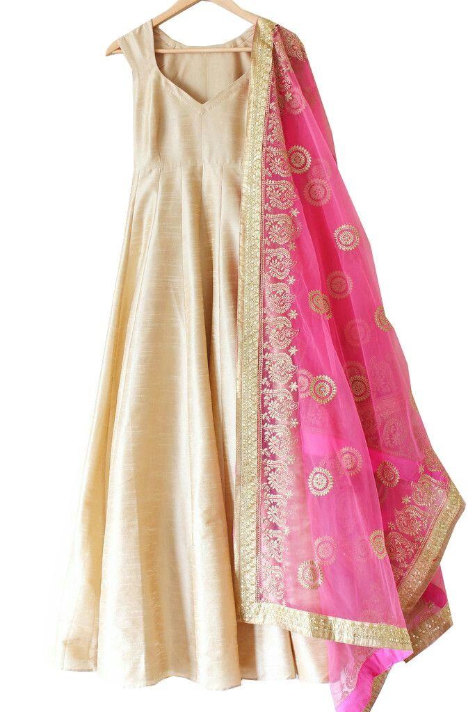 Shop Silk Plain Cream Semi Stitched Long Anarkali Suit - Asv22 by Anarkalisuitvilla online. Largest collection of Latest Anarkalis online. ✻ 100% Genuine Products ✻ Easy Returns ✻ Timely Delivery