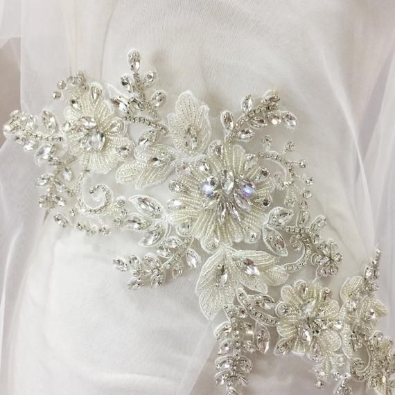 Couture Rhinestone Beaded Applique Bridal Gown Bodice Etsy In 2020 Wedding Applique Bridal Lace Fabric Beaded Applique