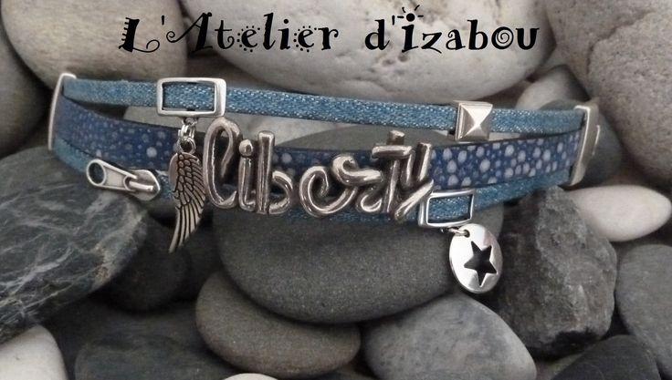 Bracelet liberté femme multirangs cuirs bleus jeans, breloques plume et étoile,