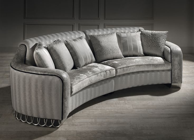 small curved sofa, luxury small curved sofa, silver sofa,