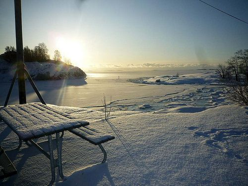 Sunny winter scenery from Suomenlinna, Finland
