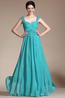 New Turquoise Straps Empire Waistline Bridesmaid Dress Evening Dress (C00145911) - USD 98.56