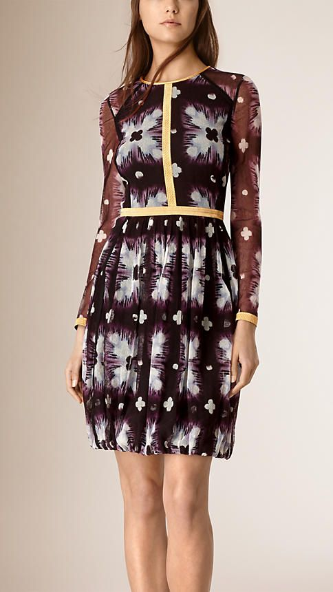 Purple black Tie-dye Print Silk Blend Dress - Image 1