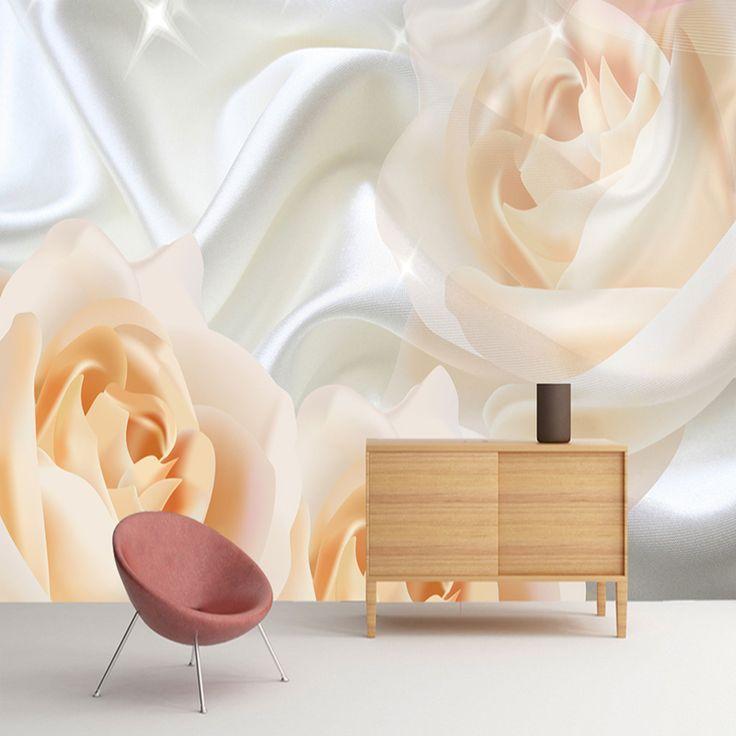 Custom Wall Mural Wallpaper For Bedroom Walls Modern Design Rose Flower Silk Non-woven Wallpaper Wall Painting Papel De Pared 3D