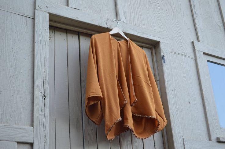 Excited to share the latest addition to my #etsy shop: Short Burnt Orange Bohemian Kimono Cardigan with Tassels http://etsy.me/2zJ2PAq #clothing #women #orange #birthday #christmas #onesize #tassels #kimono #orangekimono
