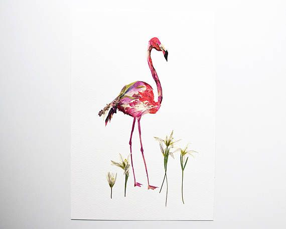 Flamingo art Pressed flower art Dry flower arrangement