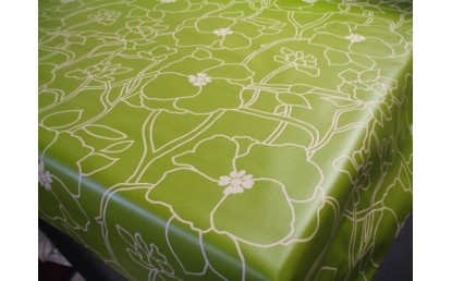 Wimbledon Green Vinyl Oilcloth Tablecloth