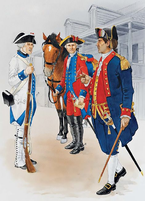AWI Americans: Colonial troops, Louisiana, 1769-1780s • Private, Luisiana Regiment, c. 1780 • Officer, St Louis militia cavalry, 1779 • Officer, New Orleans militia battallon, c. 1780