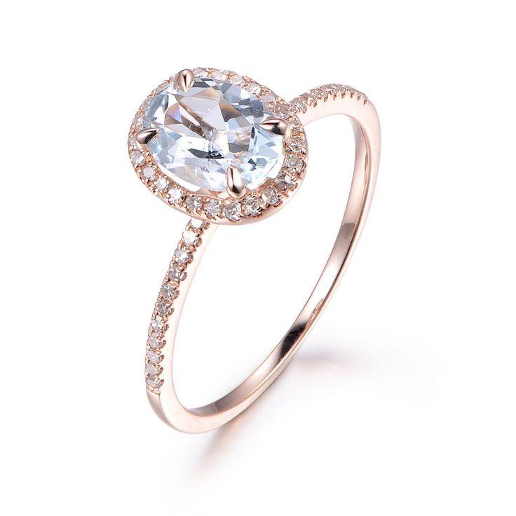 Oval Aquamarine Engagement Ring Pave Diamond Wedding 14K