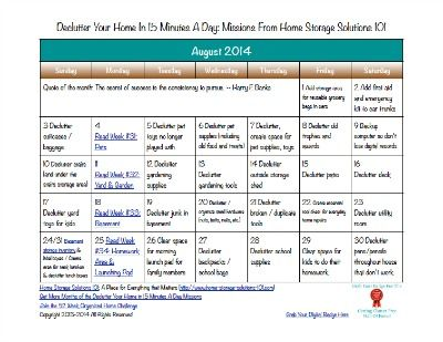 Free printable August 2104 declutter calendar with daily 15 minute mission {on Home Storage Solutions 101}