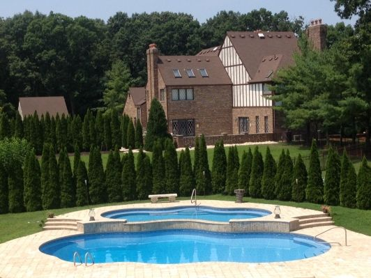 Tiered Backyard With Pool : Tiered pool and hot tub  Home and Garden Design Ideas